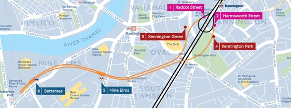 NLE route map inlcuding shafts