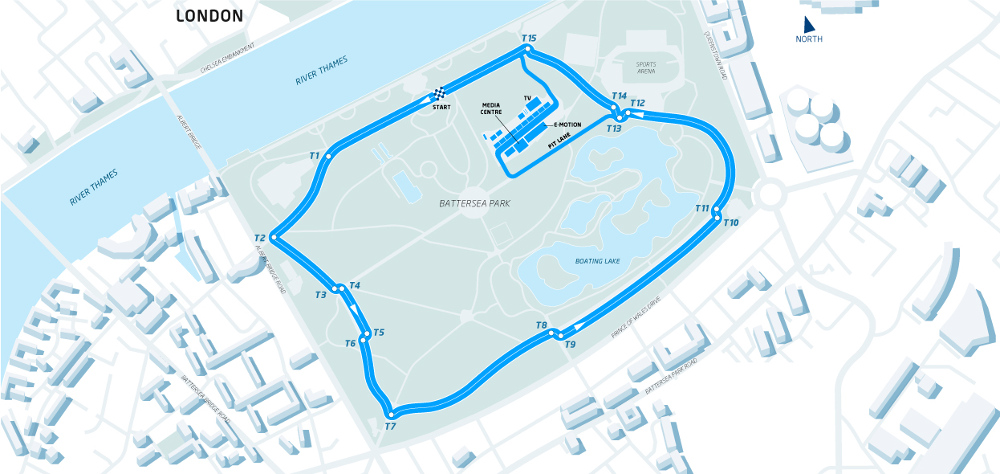The proposed circuit layout for the Formula E London ePrix at Battersea Park