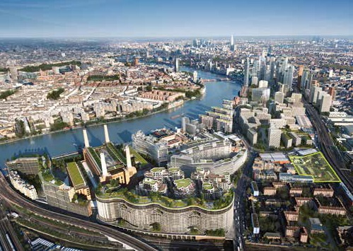 Aerial CGI of Nine Elms on the South Bank
