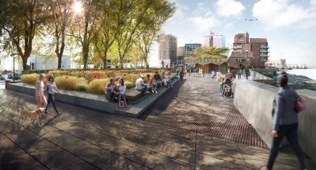 CGI of improvements to Bourne Valley Wharf, Nine Elms Lane (credit: Churchman Landscape Architects)