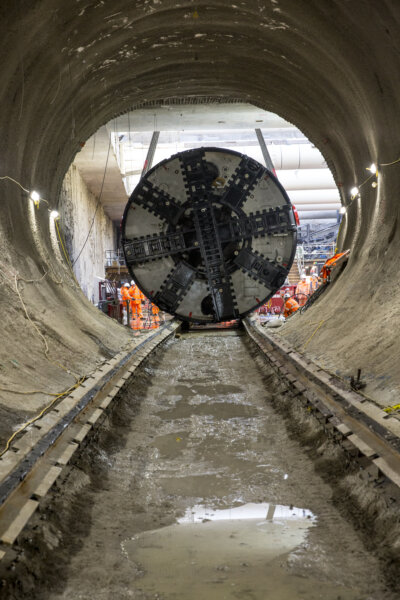 One of the tunnel boring machines that will build the Northern Line Extension is carefully manoeuvred into the 77m long launch tunnel, before starting its journey towards Kennington next month. Copyright John Zammit / TfL