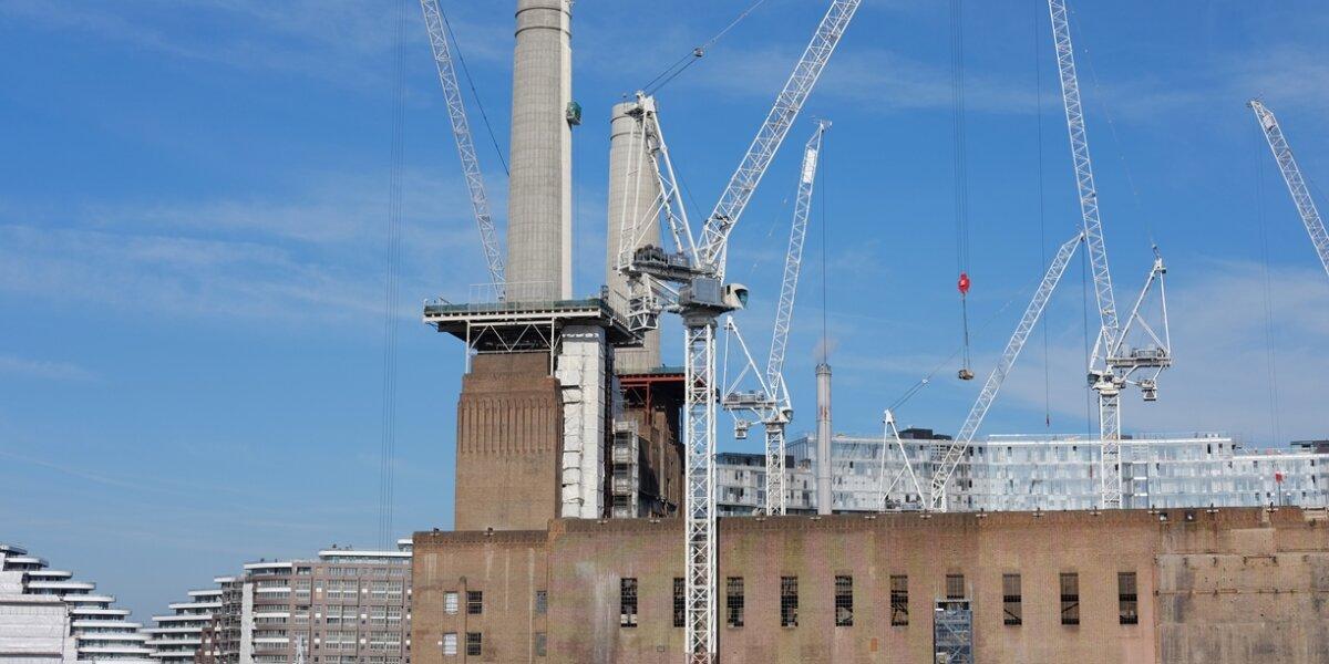 Battersea Power Station chimneys being repainted