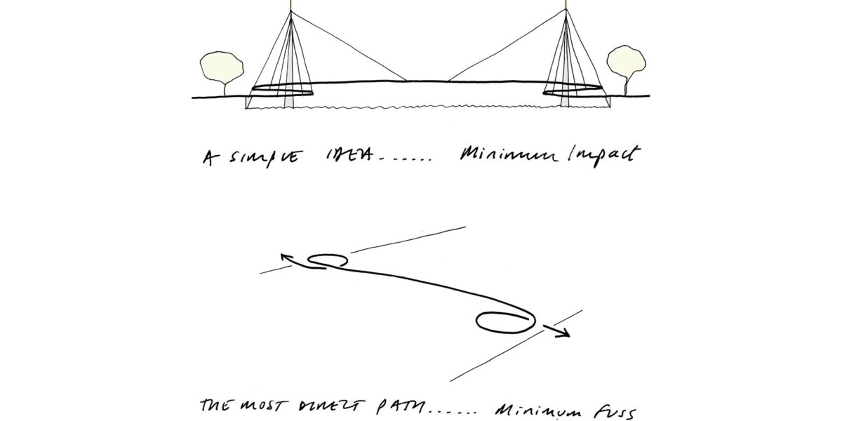 Nine Elms Pimlico Bridge_Concept Sketch of the design from the Competition Stage