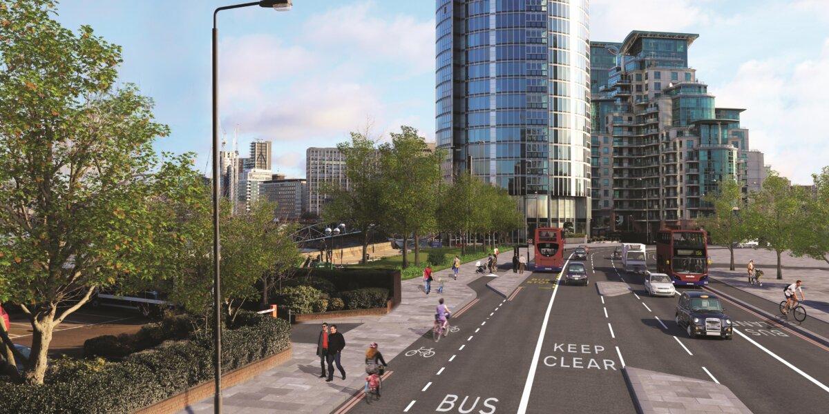 artist's impression of Nine Elms Lane improvements