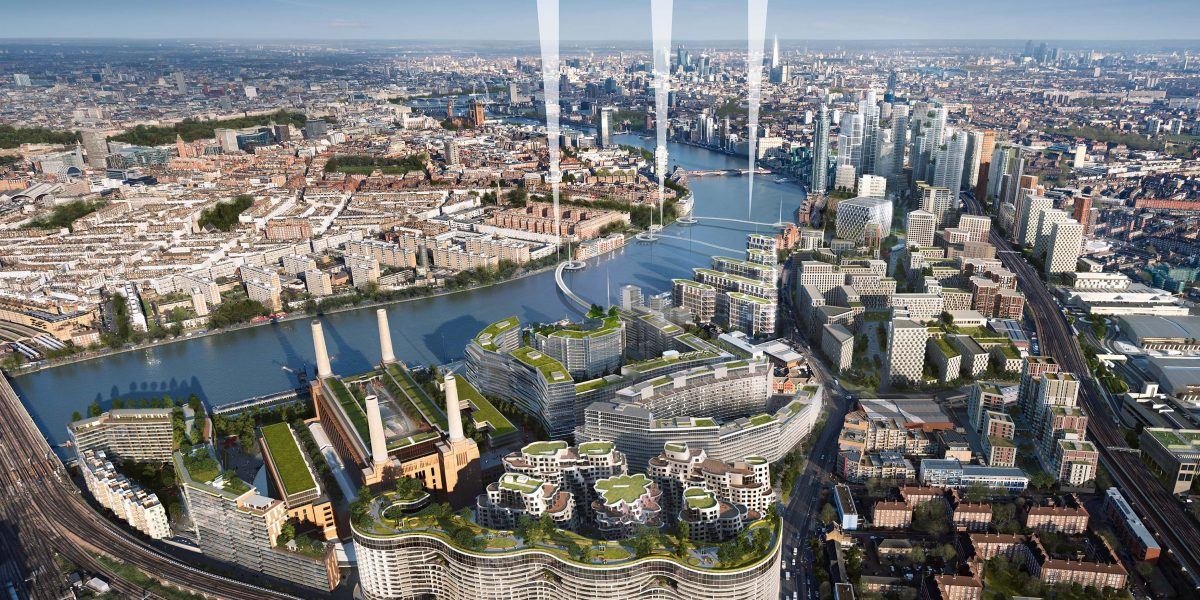 Aerial View of Nine Elms Reach with 3 location options