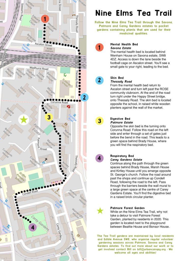 Map showing the Nine Elms Tea Trail