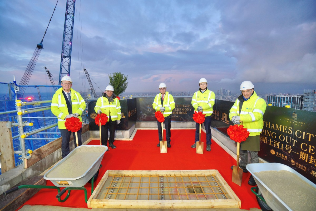 Cllr Govindia at topping out One Thames City