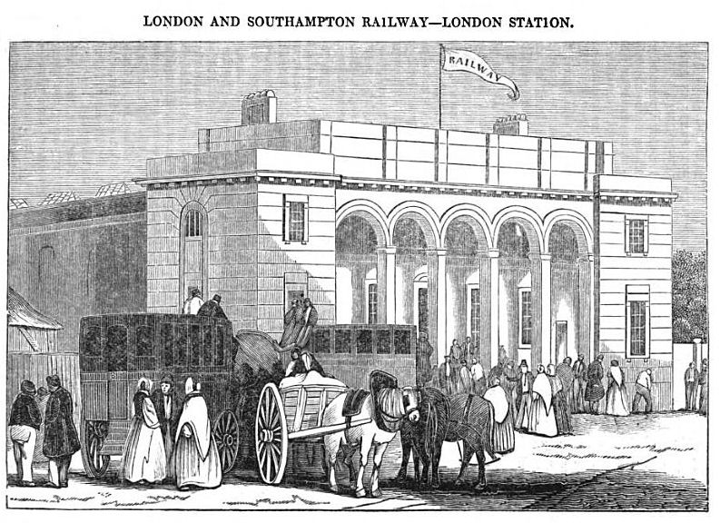 A drawing of Nine Elms station from 1838