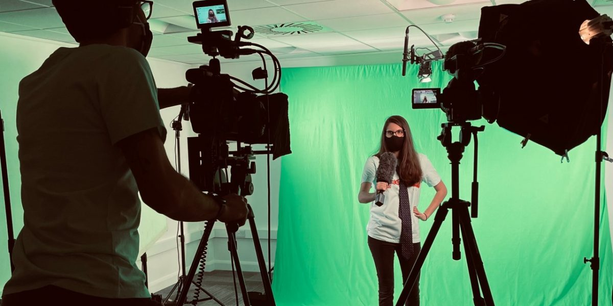 Chocolate Films, setting up for green screen shoot