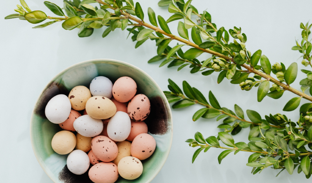 Basket of eggs and leaves
