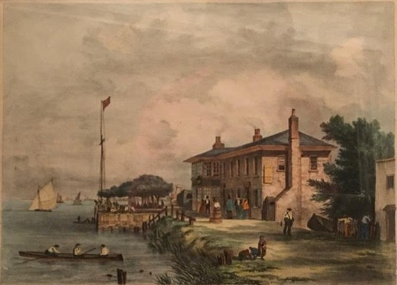 Image of the Red House with rowers
