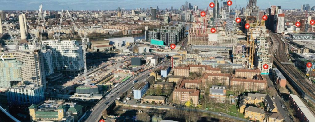 Panoramic view of Nine Elms west to east