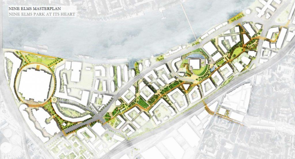 Masterplan map for Nine Elms Park