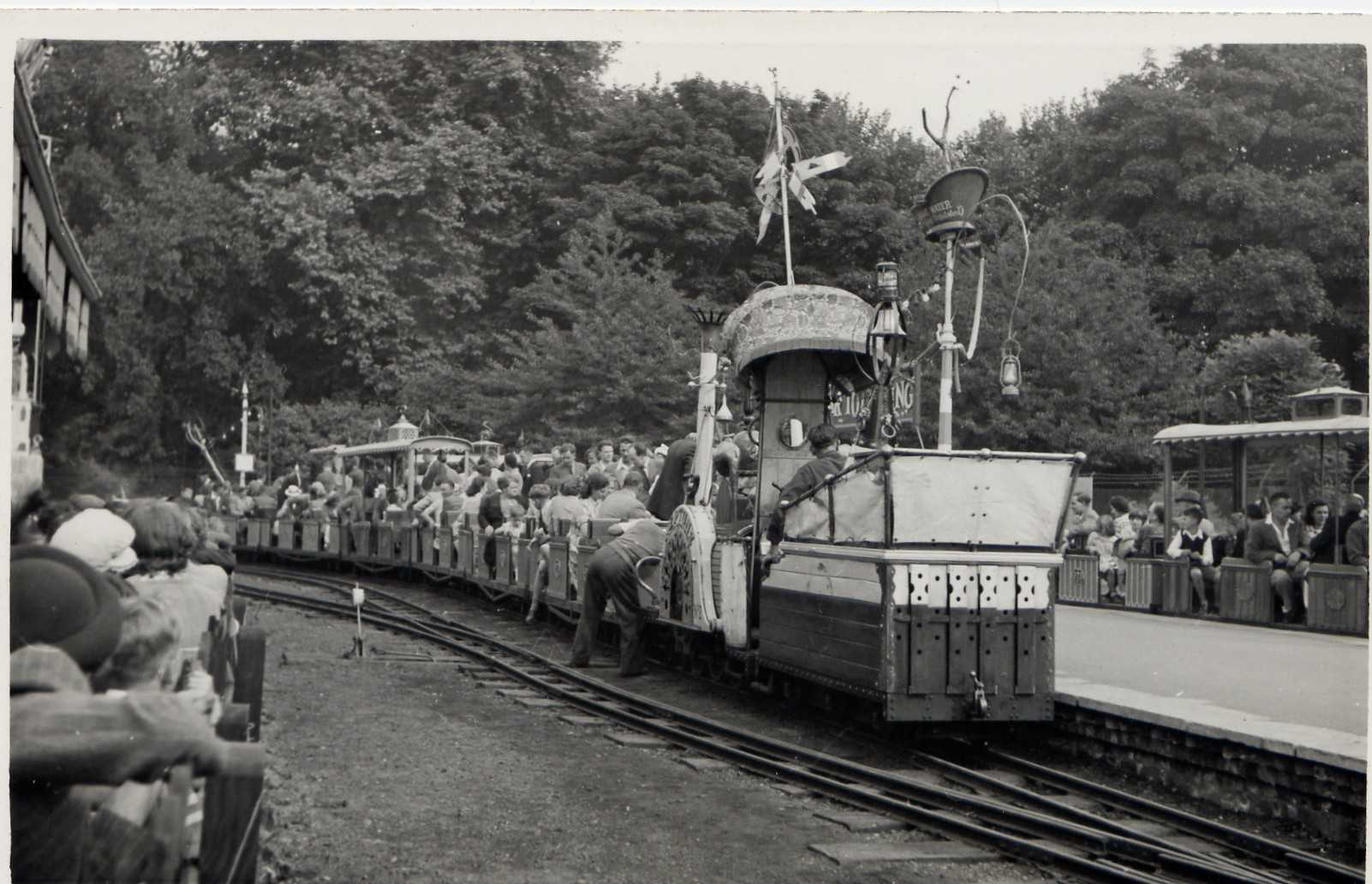 Black and white photo of Battersea Park Festival Gardens mini railway