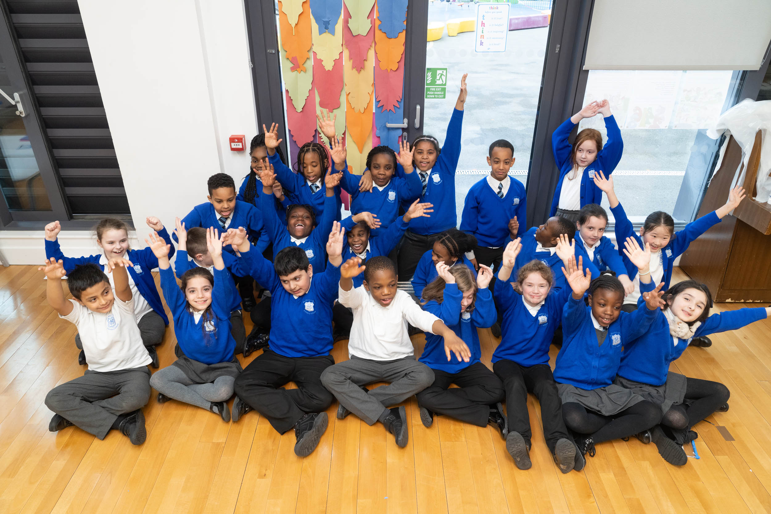 St Mary's RC Primary in Nine Elms with their daggerboard designs