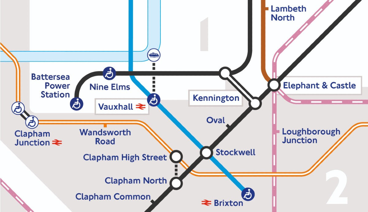 Tube map showing Northern Line Extension stations